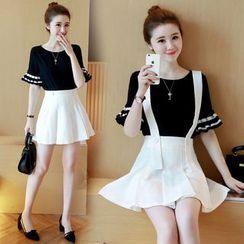 Coolvibe - Set: Short-Sleeve Paneled Top + A-Line Jumper Skirt