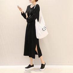 NANING9 - Tie-Waist Slit-Side Long Dress