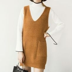 Honey House - Pocketed Furry Knit Vest Dress