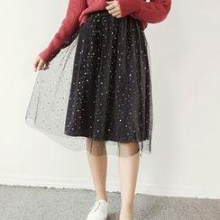 Honey House - Set: Star Print Midi Mesh Skirt + Corduroy Skirt