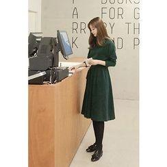 CHERRYKOKO - Button-Back Tie-Waist Dress