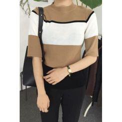 OZNARA - Elbow-Sleeve Color-Block Knit Top