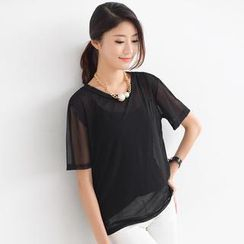 SO Central - Sheer Short-Sleeved Top