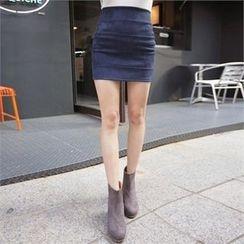 QNIGIRLS - Zip-Back Seam-Trim Mini Skirt