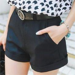 Styleonme - Cuffed-hem Shorts