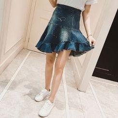 VIZZI - Paint Splattered Ruffle Hem Denim Skirt