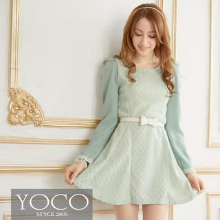 Tokyo Fashion - Puff-Sleeve Textured A-Line Dress
