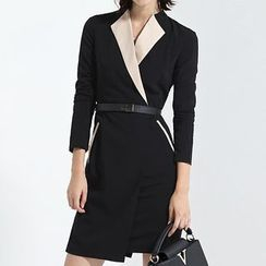 Eleganza - Two Tone Long Sleeve Sheath Dress with Belt