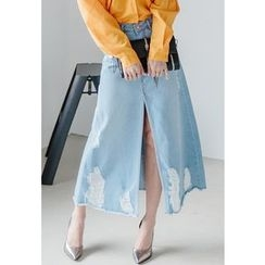REDOPIN - Distressed Slit-Front Midi Skirt