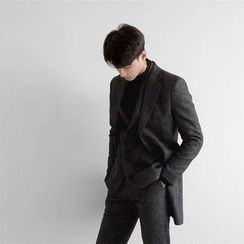 Seoul Homme - Notched-Lapel Single-Breasted Mélange Coat