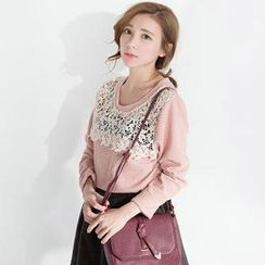 CatWorld - Long-Sleeve Lace-Panel Top
