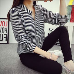 Glen Glam - Striped Chiffon Blouse