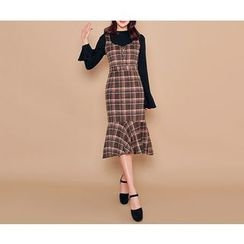 HOTPING - Ruffle-Hem Checked Suspender Dress