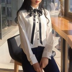 Bloombloom - Lace Panel Bow Long-Sleeve Blouse