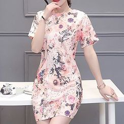 Arroba - Floral Print Short-Sleeve Dress