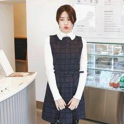 mimi&didi - Sleeveless Plaid Mini Dress with Belt