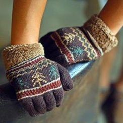 Lose Show - Fleece Trim Patterned Knit Gloves