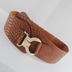 Goldenrod - Croc Grain Pattern Elastic Belt