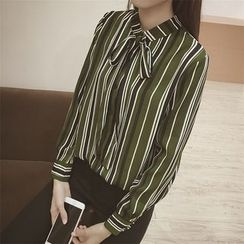 Eva Fashion - Pinstripe Long-Sleeve Chiffon Blouse