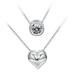BELEC - 925 Sterling Silver Double Heart-shaped Pendante with White Crystal and 47cm Necklace