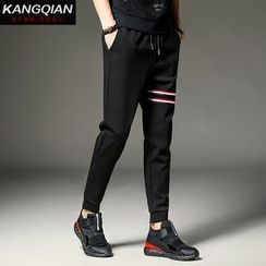 KANGI - Drawstring Striped Sweatpants