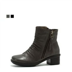 MODELSIS - Genuine Leather Chunky-Heel Boots
