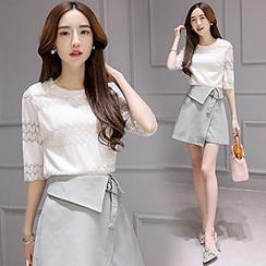 Ashlee - 套裝: 蕾絲中袖上衣 + A字裙子