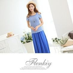 Flenkiy - Set:  Cutout-Shoulder Striped Top + Maxi Skirt