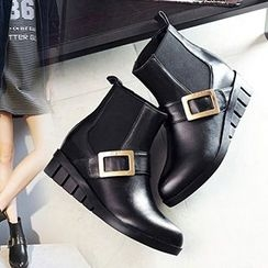 Gizmal Boots - Buckled Hidden Wedge Ankle Boots