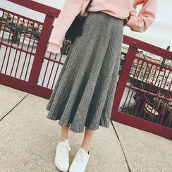 Moon City - 纯色罗纹针织中长裙