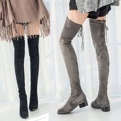 JY Shoes - Chunky Heel Over-the-Knee Boots