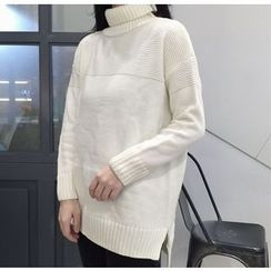 Bloombloom - Plain Turtleneck Long Sweater