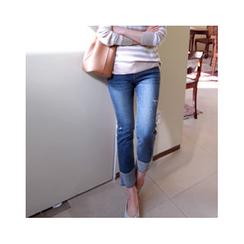 LEELIN - Contrast-Cuff Straight-Cut Jeans