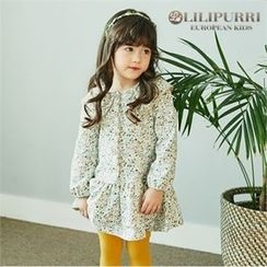 LILIPURRI - Girls Capelet Buttoned Floral Dress