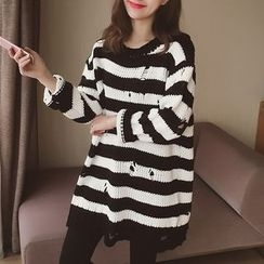 Cocofield - Striped Ripped Knit Chunky Sweater