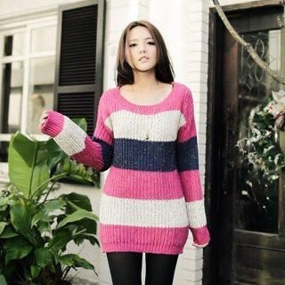 D.P-Shop - Color-Block Striped Long Knit Top