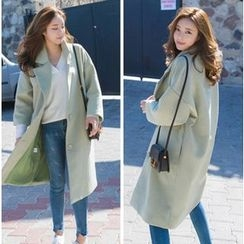 7th Mansion - 3/4 Sleeve Notch Lapel Long Woolen Coat