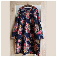 Rosadame - Long-Sleeve Floral Dress