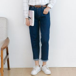 Forest Girl - Fray Hem Cropped Jeans
