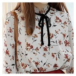 Sechuna - Tie-Front Floral-Patterned Blouse