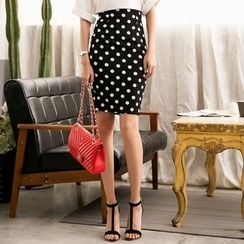 Eleganza - Dotted Pencil Skirt