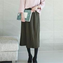 YOOM - Wool Blend Band-Waist Accordion-Pleat Midi Skirt