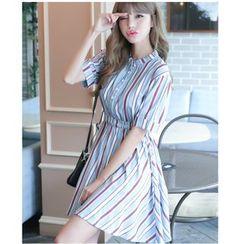 Dowisi - Pinstripe Short-Sleeve Shirtdress