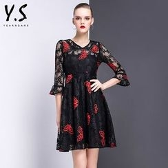 Y:Q - Butterfly Embroidered A-Line Lace Dress