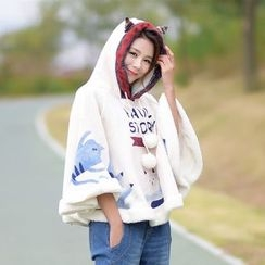 YR Fashion - Cat Print Pompom Hooded Cape