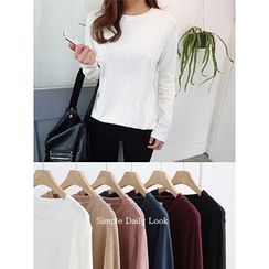 hellopeco - Round-Neck Long-Sleeve T-Shirt