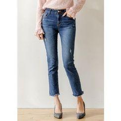 J-ANN - Fringe-Hem Straight-Cut Jeans