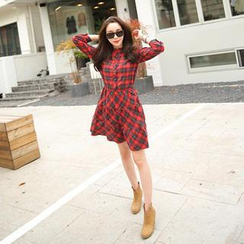 Cherryville - Mandarin-Collar Plaid Shirtdress