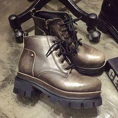 SouthBay Shoes - Platform Block Heel Short Boots