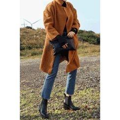 migunstyle - Faux-Suede Trim Boucle Coat